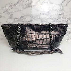 Rodo   Vintage Metallic Crocodile Shoulder Handbag